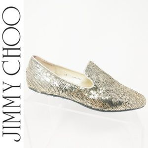 Jimmy Choo Gold Sequin Holiday Loafers Shoes 7.5